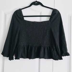 American Eagle Black Smocked Cropped Top Large